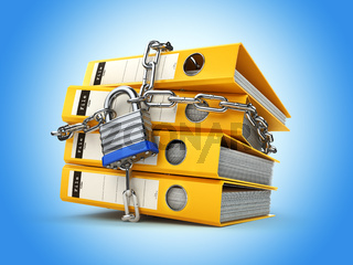 File folder and chain with lock. Data and privacy security. Information protection.