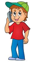 Boy with cellphone theme image 1 - picture illustration.