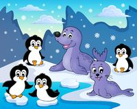 Seals and penguins theme image 2 - picture illustration.