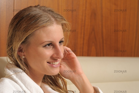 Young woman in rest room of a spa
