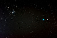 Starfield with Comet Lovejoy, Falling Star and Ple