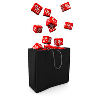 Shopping Bag Red Cubes Percents