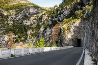 Road along a Ulldecona reservoir. Valencian Community, Spain