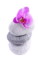 Stack of spa stones with flower