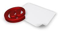 emailsymbol und weiße leere papierseite - 3d illustration