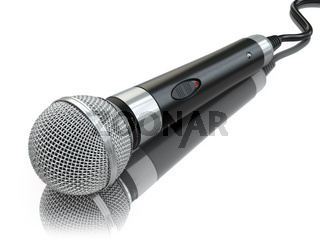 Microphone isolated on white. Caraoke or news concept.