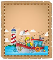 Parchment with fishing boat theme 2 - picture illustration.