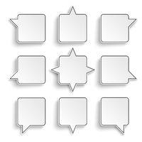 9 Quadratic Speech Bubbles White Background PiAd