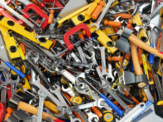 Tool background. Heap of different tools. Workshop.