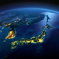 Detailed Earth. Part of Asia, Japan and Korea, Japanese sea on a moonlit night