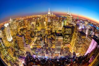 New York City Manhattan downtown skyline.