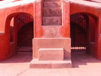 A part of Jantar Mantar observatory with two way closed iron gate as passway