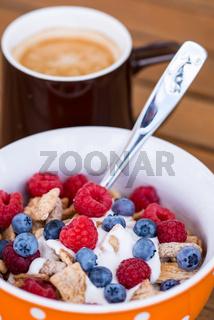 healthy breakfast -muesli and coffee