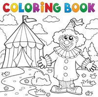 Coloring book clown near circus theme 6 - picture illustration.
