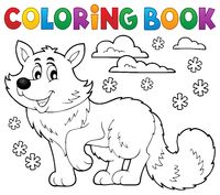 Coloring book polar fox theme 1 - picture illustration.