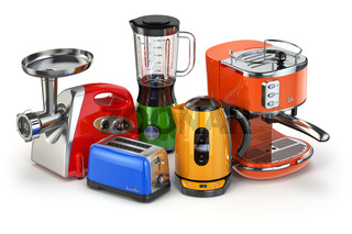 Kitchen appliances. Blender, toaster, coffee machine, meat ginder and kettle isolated on white.