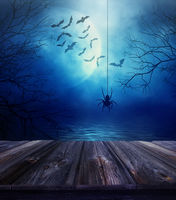 Wooden floor with spider and spooky Halloween back