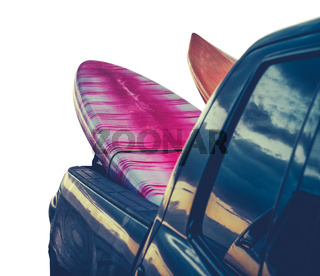 Retro Isolated Surf Boards In Truck