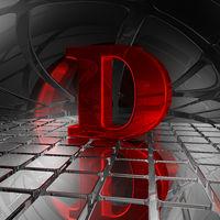 großbuchstabe d in futuristischer umgebung - 3d illustration