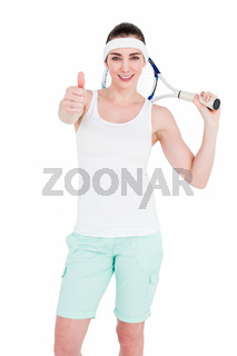 Female athlete posing with tennis racket and showing thumbs up