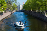 Tourists On A Boat In St Petersburg