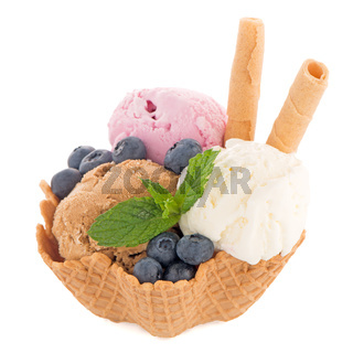 Ice cream scoops in wafer bowl