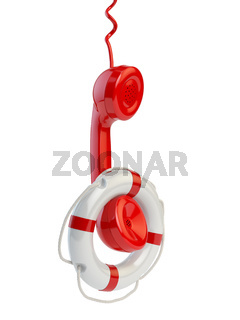 Help or support service concept. Telephone reciever and lifebouy isolated on white
