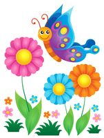 Flowers and happy butterfly theme 1 - picture illustration.