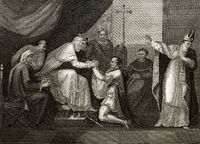 King John kneeling before the papal legate Cardinal Pandulf Verraccio, scene of the history play by William Shakespeare