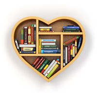 Education concept. Bookshelf with books and textbooks in form of heart. I love reading.