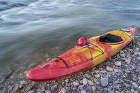 whitewater kayak with helmet
