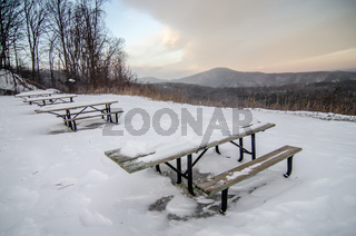 scenic views at brown mountain overlook in north carolina at sunset