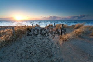 sunset over North sea beach