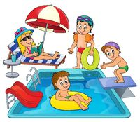 Children by pool theme image 3 - picture illustration.