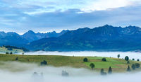 Sunrise and summer misty mountain country view.