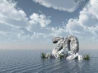 nummer zwanzig aus stein im wasser  - 3d illustration