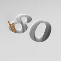 loch im boden in form der zahl 80 und eine leiter - 3d illustration