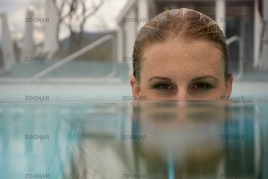 Young female enjoying a stay at the Rupertustherme Bad Reichenhall
