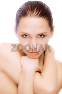 Portrait of young nude woman who lours