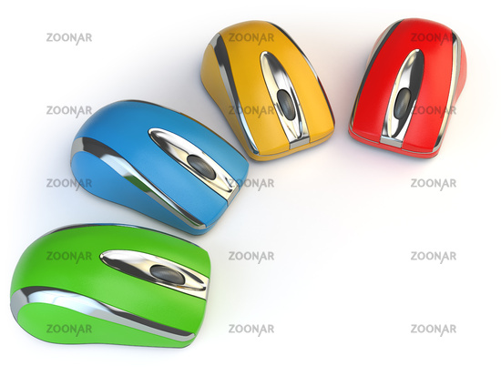 Computer mouses with different colors isolated on white