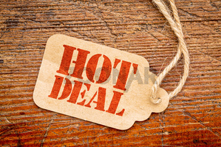 hot deal sign  on a price tag