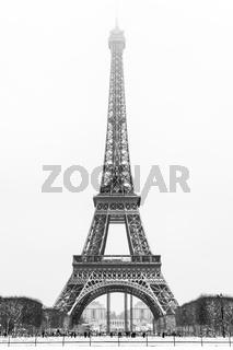 eiffel tower under the snow in Paris