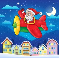 Christmas town with Santa Claus in plane - picture illustration.