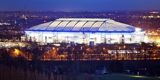 illuminated football stadium Veltins-Arena from Schalke 04 in twilight, Gelsenkirchen, Germany