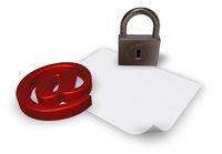 emailsymbol mit vorhängeschloss - 3d illustration