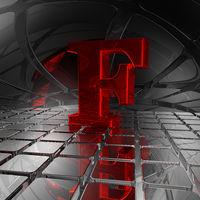 großbuchstabe f in spiegelumgebung - 3d illustration
