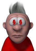 cartoonfigur mit paragraphensymbolen in den augen - 3d illustration