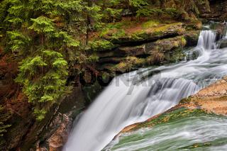 Top of Szklarka Waterfall in Poland