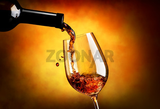 Wine on orange background