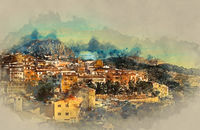 Sella village, old village in Spain. Alicante province. Digital watercolor painting